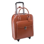 McKlein 15.6 in. Uptown Leather Vertical Wheeled Ladies Briefcase, Brown - 13.5 x 6 x 16 in.(MCKLN512)