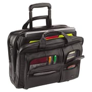 United States Luggage Classic Leather Rolling Case - Black, 15.6 in.(AZTY16009)