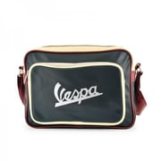 Vespa Horizontal Shoulder Bag with Logo, Black - 9.8 x 4.3 x 13.8 in.(FRME180)