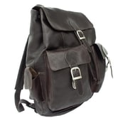 Piel Chocolate Large Buckle-Flap Backpack(PIEL745)