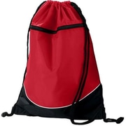 Augusta 1920A Tri-Color Drawstring Backpack, Red & Black - All(HRTW19145)