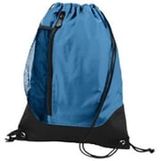 Augusta 1149A Tres Drawstring Backpack, Columbia Blue, Black - One Size(HRTW42064)