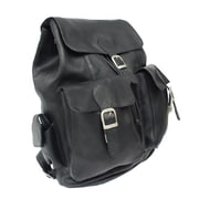 Piel Black Large Buckle-Flap Backpack(PIEL744)