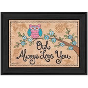 "TrendyDecor4U ""Owl Always Love You"" 20""x 14"" Black Frame Wall Art Print by Annie LaPointe (ALP1017-405)"