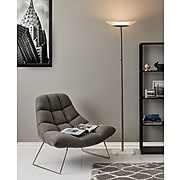 """Adesso® Celeste 71""""H Brushed Steel LED Torchiere with Frosted Glass Oval Shade (5148-22)"""