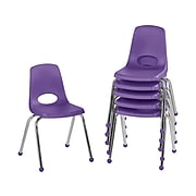 Factory Direct Partners Stack Plastic School Chair, Purple (10367-PU)