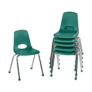 Factory Direct Partners Stack Plastic School Chair, Green (10367-GN)
