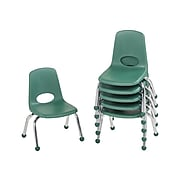 Factory Direct Partners Plastic School Chair, Green (10355-GN)