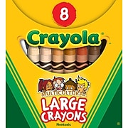 Crayola Large Multicultural Crayons, Assorted Colors, 8/Box (52-080W)