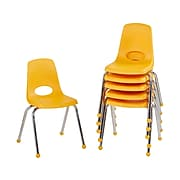 Factory Direct Partners Stack Plastic School Chairs, Yellow (10367-YE)