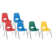 Factory Direct Partners Stack Plastic School Chair, Assorted Colors (10366-AS)