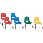 Factory Direct Partners Stack Plastic School Chair, Assorted Colors (10362-AS)
