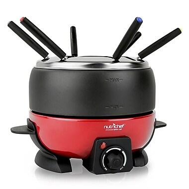 Nutrichef 2+ Qts. Fondue Maker Electric Melting Pot Cooker Black/Red (PKFNMK23)