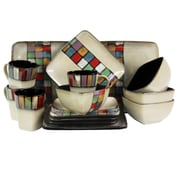 Elama Color Melange 16 Piece Stoneware Dinnerware Set Multicolor ELM-MELANGE16