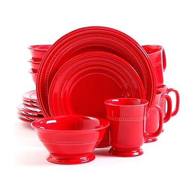 Gibson Barberware 16 Piece Stoneware Dinnerware Set Red 105958.16