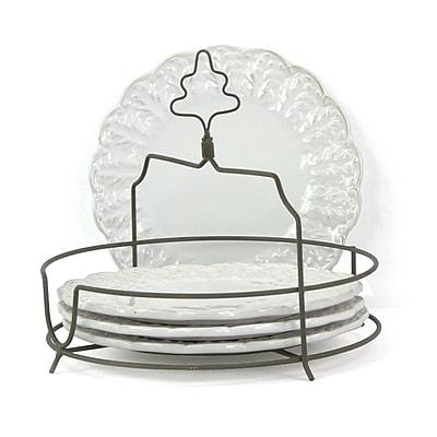 Isaac Mizrahi Chateau Fleur 4 Piece Plate Set with Metal Stand
