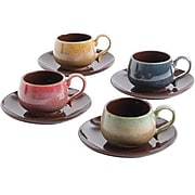 Mr. Coffee 8 Piece Espresso Cup And Saucer Set For 4 - Multicolor