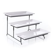 "Gibson Elite Gracious Dining 12"" Ceramic 3 Tier Plate Set with Metal Stand White 92606.04"