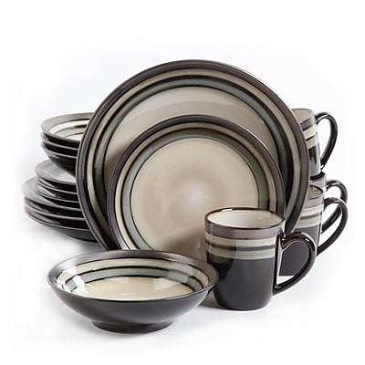 Gibson Elite Lewisville 16 Piece Stoneware Dinnerware Set Cream/Gray 107144.16