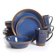 Gibson Elite Brynn 16 Piece Stoneware Dinnerware Set Blue 94845.16