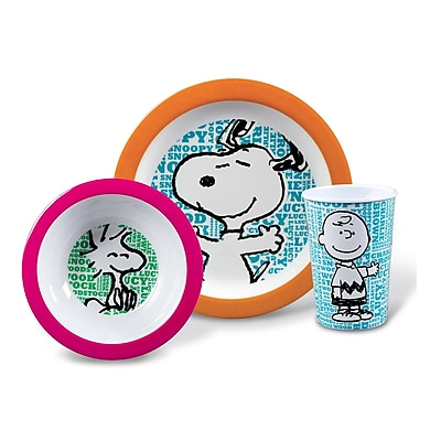 Gibson Home Snoopy Words Multicolored 3 pc Kids Plate Set