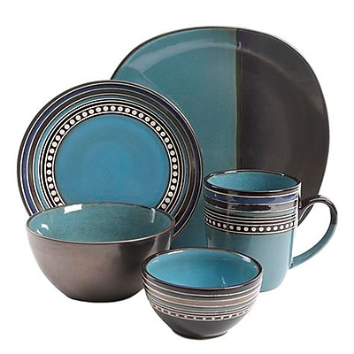 Gibson Ocean View 16 Piece Dinnerware Set, Blue 93598624M