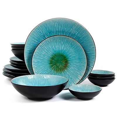Gibson ShangriLa Court 16pc Dinnerware Set Teal 93597353M