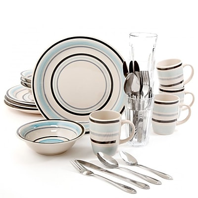 Gibson Deluxe Essentials 32pc Dinnerware Combo Set-Blue 93586874M