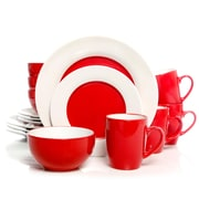 Gibson Home Style Deluxe 16-Piece Dinnerware Set, Red 93597327M