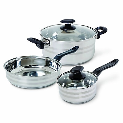 Gibson Manta Cookware Set, 5-Piece, Mirror Polished Bakelite Stainless Steel (93586657M)