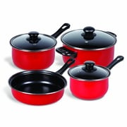 Gibson Home Chef Du Jour 7-Piece Cookware Set, True Red (93586673M)
