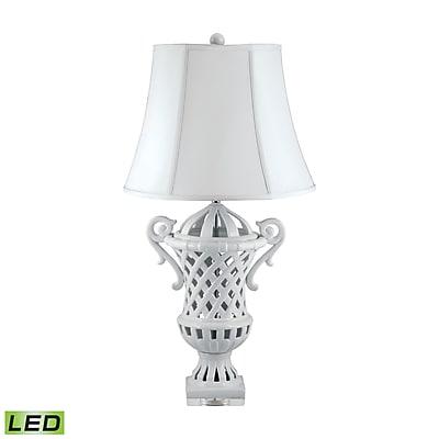 Lattice-Handled Ceramic Urn LED Table Lamp In White