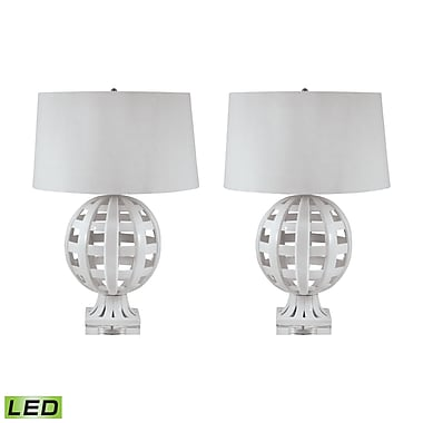 Open Work Ceramic Globe LED Table Lamps In White - Set of 2