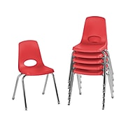 Factory Direct Partners Stack Plastic School Chair, Red (10368-RD)