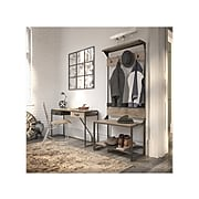 Bush Furniture Refinery Entryway Storage Set with Shoe Bench, Hall Tree, Console Table, Rustic Gray/Charred Brown (RFY013RG)