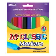 Bulk Buys BAZIC 10 Classic Colors Broad Line Jumbo Watercolor Markers Case Of 24(DLRDY245923)