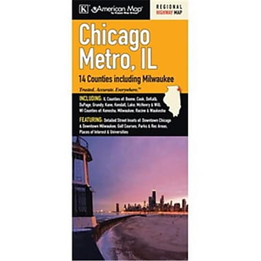 Universal Map Chicago, Il Metro 14-Counties Area Fold Map(RTL249154)