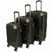 AMKA TSA Locks Hardside Upright Spinner Luggage Set, Black - 3 Piece(ECWE188)