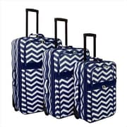 All-Seasons 21 in. ZigZag Prints Expandable Upright Luggage Set, Navy White - 3 Piece(ECWE128)