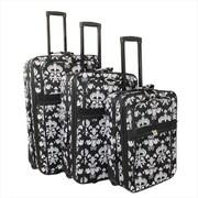 All-Seasons Damask Prints Expandable Upright Luggage Set, Black & White - 3 Piece(ECWE139)