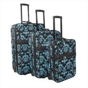 All-Seasons Damask Prints Expandable Upright Luggage Set, Black & Blue - 3 Piece(ECWE142)