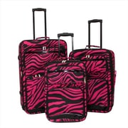 Argo Sport 86LZ12-3E Zebra Print Expandable Upright Luggage Set, Black & Pink - 3 Piece(ECWE198)