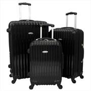 Argo Sport Expandable Polycarbonate Hardside Spinner Luggage Set, Black - 3 Piece(ECWE199)
