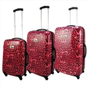 Chariot Hardside Lightweight Spinner Upright Luggage Set, Pink Leopard - 3 Piece(ECWE359)