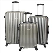 Argo Sport Expandable Polycarbonate Hardside Spinner Luggage Set, Silver - 3 Piece(ECWE200)