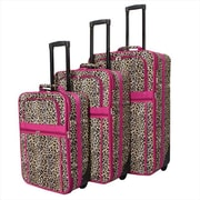 All-Seasons Leopard Prints Expandable Upright Luggage Set, Pink Trim - 3 Piece(ECWE132)