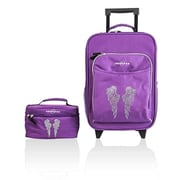 Obersee Kids Luggage & Toiletry Bag Set - Bling Rhinestone Angel Wings(HLMN178)