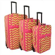 All-Seasons 21 in. ZigZag Prints Expandable Upright Luggage Set, Pink Lemonade - 3 Piece(ECWE125)