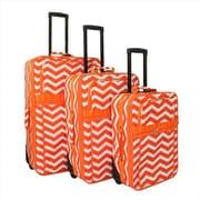 All-Seasons 21 in. ZigZag Prints Expandable Upright Luggage Set, Orange Cream - 3 Piece(ECWE129)