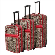 All-Seasons Leopard Prints Expandable Upright Luggage Set, Red Trim - 3 Piece(ECWE133)